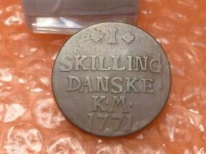 Denmark 1771  One Skilling Crowned Monogram Coin #AA
