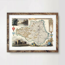 DURHAM VINTAGE MAP ART PRINT Poster A4 A3 A2 County Antique Hotel Wall Old