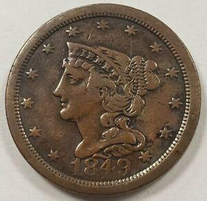 1849 1/2c Braided Hair Half Cent - Mint Error Rotated Die 90 Degree - VF - B1234