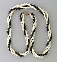Vintage Mother-of-pearl shell with Onyx Beaded Multi-strand Twisted Necklace