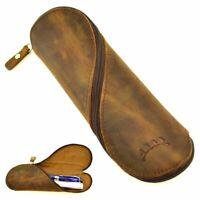 Top Grain Genuine Leather Pen & Pencil Case, Brown with Zipper Close