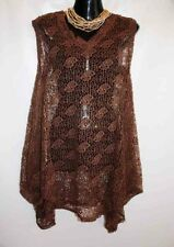 Ollah Oh Brown Net Lace Tunic Top Women's Tunic Tops, Womens Over Tops. Size S