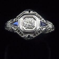 c1920s Art Deco Old European Cut Diamond Sapphire 18k White Gold Ring Engagement