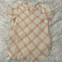 Lauren Conrad Womens Size XS Pink & White Plaid Short Sleeve Top / Blouse NWT