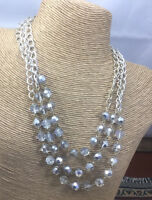 Vintage Style Necklace Glass Faceted Silver On Crystal Finish 3 Strand Chain