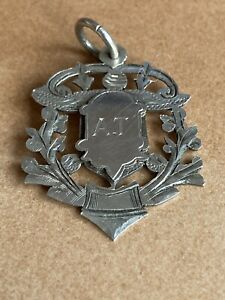 Antique Sterling Silver Fob Initial A.T circa 1909