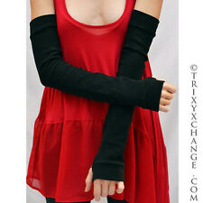 Long Arm Warmers Black Cotton Gloves Armwarmers Knit Covers Thumb Holes 1009