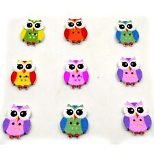 New Colorful Wood Sewing Button Scrapbooking Cute Owl Shaped Crafts 2Holes