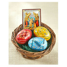 Ukrainian Easter Eggs Basket With 3 Hand Painted Pysanki & Mini Icon Eggs Easter