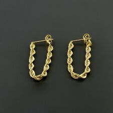 10K YELLOW GOLD 2.5MM ROPE CHAIN STUD DANGLE EARRINGS