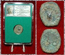 Roman Empire Coin Claudius Quadrans Modius On Obverse And S-C On Reverse