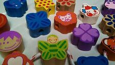 NEW Educational Toy STRING-A-LACE BEADS 15 pc WOODEN ANIMALS FLOWERS BLOCKS