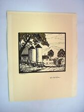 """1930-40's C.Palmer India Ink Drawing Landscape """"Hill Top Farm"""""""