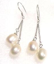 White Hook Drop Dangle Earrings Fresh Water Pearl Sterling Silver 4cm
