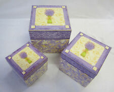 3 Pretty French Provincial Country Stacked Lavender Decorative Boxes With Lids