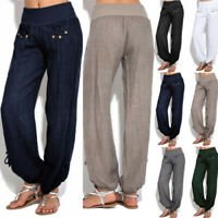 Womens Casual Linen Harem Pants Loose Baggy Wide Leg Yoga Oversize Long Trousers