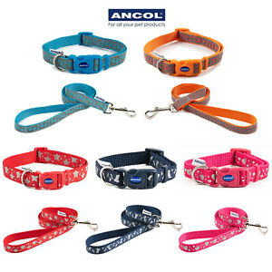 Ancol Reflective Dog Collar Fashion Matching Leads Separately Adjustable Nylon