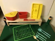 Lot Vintage Plastic Toy Kitchen Susy Goose Suzy Goose DISH DRAINER Utensils