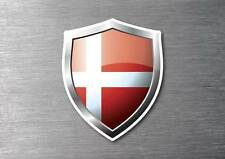 Denmark flag shield sticker 3d effect quality 7 year water & fade proof