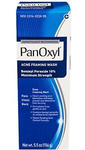 1 X PanOxyl Foaming Acne Wash Maximum Strength10% Benzoyl Peroxide 5.5oz Exp1/22