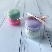 50 Clear Wedding Party Macaroon Favour Boxes Thank You Stickers Rose Gold Ribbon
