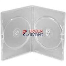 25 x CD / DVD / BLU RAY 14mm Clear DVD Double Case for 2 Disc - Branded Drago...
