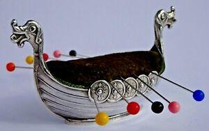 Wonderful antique solid sterling silver Norwegian Viking ship pin cushion