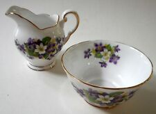 TUSCAN Bone China CREAMER Open SUGAR BOWL Woodland Violet Pattern 2 pc