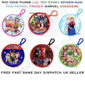 Children's Character Round Coin Wallet Purse & Clip PVC Front LOL Avengers Paw