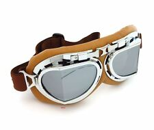 Vintage Aviator Style Motorcycle Scooter Goggles - Brown Chrome - Mirror Lens