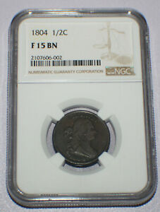 1804 US Half Cent, C-13, NGC F15