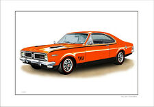 HOLDEN  HG 350  GTS MONARO  LIMITED EDITION CAR DRAWING  PRINT  ( 6 CAR COLOURS)