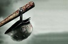 A4 Poster – Nazi World War 2 Helmet Hanging off a Bloody Baseball Bat (Picture)