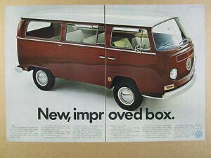 1967 VW volkswagen Bus 'New Improved Box' brown van BIG color photo vintage Ad