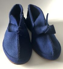Mid Century 4.5 Royal Blue Hard Sole Slippers Dead Stock Wool Blend