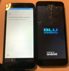 READ Lot of 2 Tracfone Blu View 1 16GB Black (Tracfone) Smartphone Good Used 1