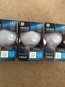 3 GE Reveal HD+ Light 40-Watt G25 Clear Globe Light Bulbs w/Medium Base