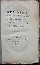 Mémoire historique du comte d'Albert de Rions, sur l'affaire de Toulon E.O. 1790