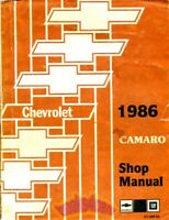SHOP MANUAL CAMARO SERVICE REPAIR 1986 CHEVROLET BOOK