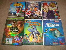 Kids DVD LOT Disney Pixar Finding Nemo Jungle Book 1 2 Muppets Take Willy Wonka