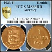 1933-H Guernsey Double PCGS MS66RD Red Unc Gem Uncirculated Rare 96,000 Minted