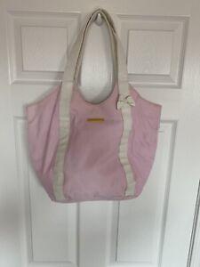 Juicy Couture Pink White Canvas Tote Bag Beach Cru