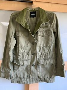 Madewell Outbound Military Utility Jacket Olive Field Button Front SZ M