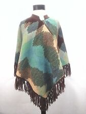 Poncho Crochet Sweater Cape Knit Boho Hippie Striped Handmade Green Brown Blue