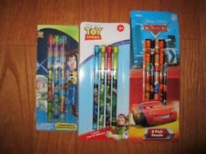 Disney Pixar Lot of 3 packs of Toy story & Cars Pencils NIP