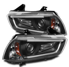 2011-2014 DODGE CHARGER LED DRL BAR STRIP PROJECTOR HEAD LIGHTS LAMPS BLACK PAIR
