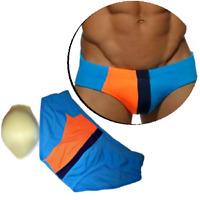 Herren Männer Badehose Push Up mit 3D Pad Schwimmhose Badeshort Blau M L XL XXL