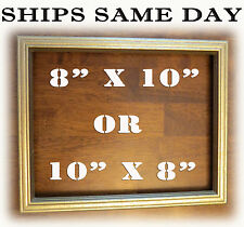 """8"""" 10"""" Rastic Gold Distressed Solid Wood 8x10 Picture Photo Frame 10 x 8 Golden"""