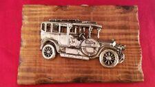 """Vintage Antique Metallic Plastic Car Rustic Wood Plaque 6.25x4"""""""