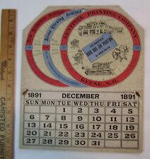 RARE - Advertising Calendar - Sentinel Printing Press Co - Keen NH Printers 1891